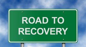 Estrada ao sinal da recuperação Fotos de Stock Royalty Free