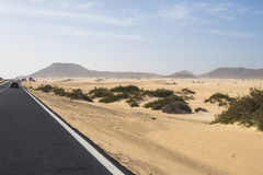 A estrada asfaltada através das dunas de areia Fotos de Stock Royalty Free