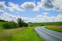 Estrada asfaltada através do campo verde Fotografia de Stock