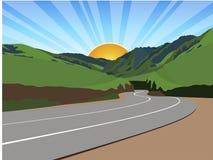 Estrada através das montanhas ilustração do vetor