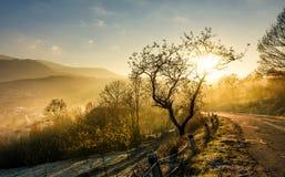 Estrada através do campo montanhoso no nascer do sol foto de stock royalty free