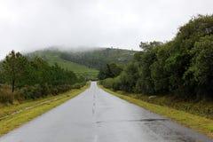 Estrada através do campo a um monte Imagens de Stock Royalty Free