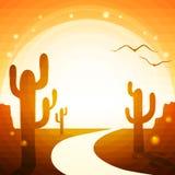 A estrada através do deserto Imagens de Stock Royalty Free