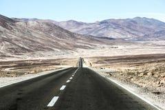 Estrada através do deserto Imagens de Stock