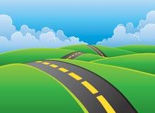 Estrada através do fundo da natureza Imagem de Stock Royalty Free