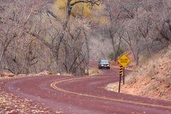 Estrada através do parque nacional de Zion em Utá Imagens de Stock Royalty Free