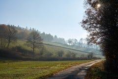 Estrada através dos campos, do meio-dia e do embaçamento foto de stock