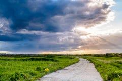 Estrada através do campo Fotografia de Stock