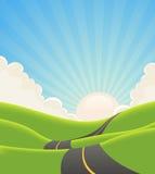 Estrada azul da paisagem do verão Fotos de Stock Royalty Free