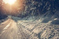 Estrada cênico do inverno fotografia de stock