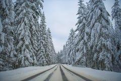 Estrada cênico do inverno foto de stock