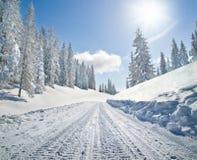 Estrada coberto de neve na paisagem do inverno Fotografia de Stock