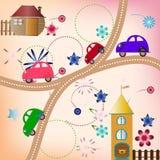 Estrada com carros da cor, estilo das crianças Imagem de Stock Royalty Free