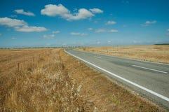 Estrada com a paisagem rural perto do parque nacional de Monfrague imagens de stock royalty free