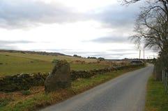 Estrada com pedras eretas, Escócia da única trilha Foto de Stock Royalty Free