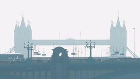 Estrada com a ponte de Londres na distância filme