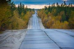 A estrada concreta acima do círculo ártico acima Yamal Paisagem ?rtica foto de stock