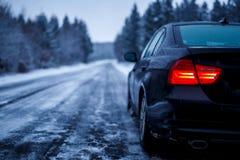 Estrada congelada do inverno Imagens de Stock