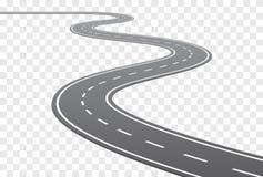 Estrada curvada vetor com linhas brancas ilustração do vetor