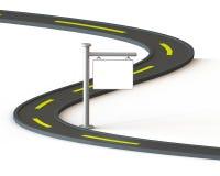estrada 3D com etiqueta branca Fotos de Stock Royalty Free