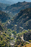 Estrada D84 e de rio de Gol enrolamento através de Córsega central Imagem de Stock Royalty Free