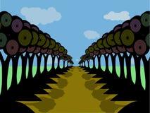 Estrada da árvore da silhueta Imagens de Stock