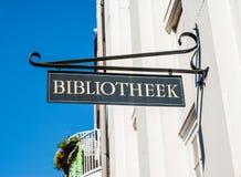 A estrada da biblioteca pública assina dentro Amsterdão Fotos de Stock