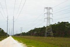 Estrada da linha eléctrica Imagem de Stock Royalty Free
