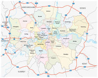 Estrada da mais grande Londres e mapa administrativo Imagem de Stock Royalty Free