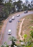 Estrada da montanha com floresta verde Foto de Stock