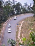 Estrada da montanha com floresta verde Fotos de Stock
