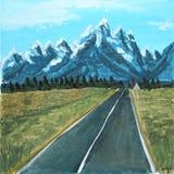 Estrada da paisagem da aquarela às montanhas ilustração da quadriculação para o projeto fotos de stock