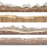 Estrada da pedra sem emenda Fundos rochosos do jogo com vários tipos de coleção dos desenhos animados do vetor das pedras ilustração stock