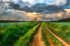 Estrada da pintura a óleo através de um campo no campo Imagens de Stock Royalty Free