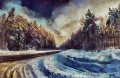 Estrada da pintura a óleo através de uma floresta do inverno Fotos de Stock