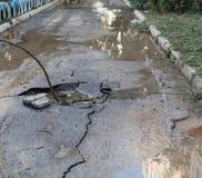 Estrada danificada Fotografia de Stock Royalty Free