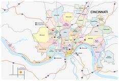 Estrada de Cincinnati e mapa da vizinhança Imagem de Stock