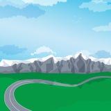 Estrada de enrolamento com uma paisagem da montanha Vetor ilustração stock