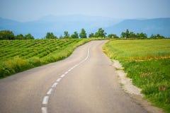 Estrada de enrolamento entre prados verdes Imagem de Stock Royalty Free