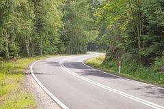 Estrada de enrolamento na floresta Imagem de Stock Royalty Free