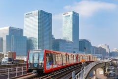 Estrada de ferro clara das zonas das docas em Londres Fotos de Stock Royalty Free