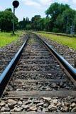 Estrada de ferro com sinal em um campo verde Fotos de Stock