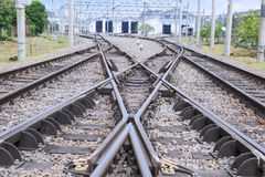 Estrada de ferro com trilha do interruptor foto de stock
