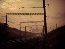 Estrada de ferro da névoa Fotografia de Stock Royalty Free