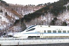 Estrada de ferro de alta velocidade na área extremamente fria imagens de stock