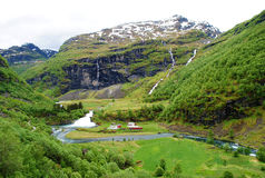 Estrada de ferro de Flam da paisagem de Noruega foto de stock