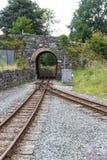 Estrada de ferro do calibre estreito das montanhas de Galês Aproximações da locomotiva de vapor Fotografia de Stock Royalty Free