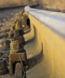 Estrada de ferro do close up com superfície do cascalho Imagem de Stock Royalty Free