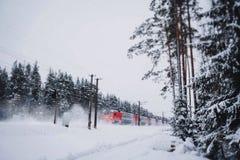 Estrada de ferro do inverno Fotos de Stock Royalty Free