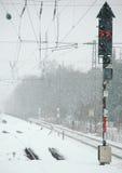 Estrada de ferro do inverno Imagem de Stock Royalty Free